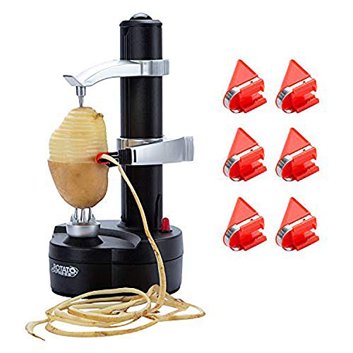 DRROT Automatic Electric Potato Peeler [ 6 Replacement Blades] -...