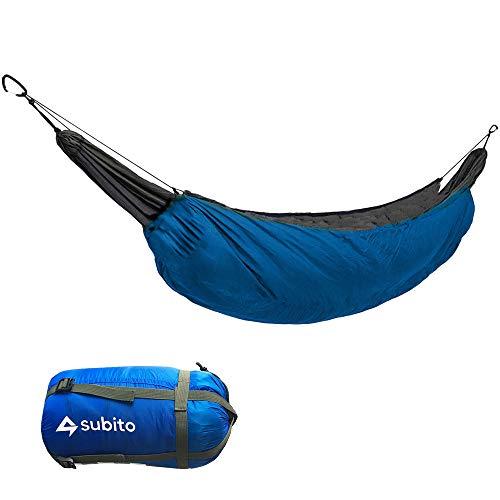 yui Hamac de camping portable avec sous-couette, sac de couchage, hamac thermique, accessoire d isolation pour camping, sports et divertissement (couleur : bleu ciel)