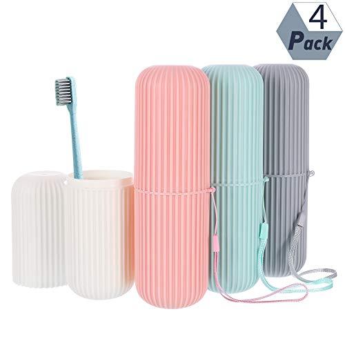 Rainday - Portaspazzolino da viaggio, 4 pezzi con cannuccia di grano per dentifricio, set per viaggi, campeggio e vita domestica, scuola