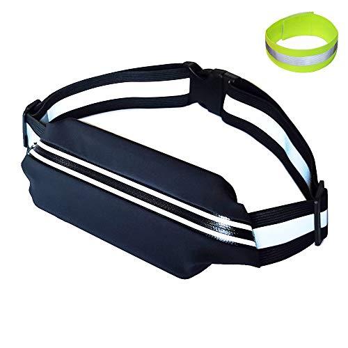 Pro4u High Visibility Reflective Fanny Pack, Lightweight Running Belt, Adjustable Hiking Waist Pack, No-Bounce Hand-Free Running Gear, Water Resistant Pocket, Reflective Luggage Straps Belt (Black)