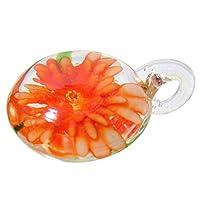 ベネチアンガラス風 ペンダントトップ 丸型 フラワー vene-64 (オレンジ)