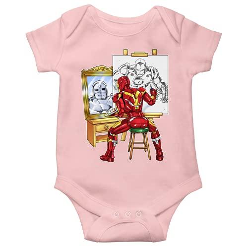 OKIWOKI Iron Man Lustiges Rosa Kurzärmeliger Baby-Bodysuit (Mädchen) - Iron Man und Tony Stark (Iron Man Parodie signiert Hochwertiges Baby-Bodysuit in Größe 12 monate - Ref : 1166)