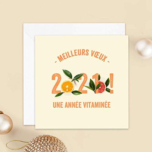 Carte de voeux 2021 • Année Vitaminée • Lot de 16 Cartes • Papier haut de gamme • 16 Enveloppes Blanches Autocollantes • 14x14 cm Pliée • Idéal pour souhaiter la Bonne Année • Popcarte