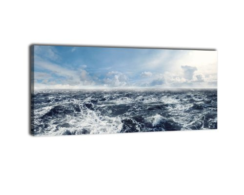 wandmotiv24 Leinwandbild Panorama Nr. 278 Schäumende See 100x40cm, Keilrahmenbild, Bild auf Leinwand, Meer Ozean Sturm