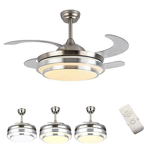Ventiladores de techo con lámpara, candelabro LED con ventilador invisible creativo moderno de 36 W, con control remoto, regulable, ultra silencioso, temporizador, ventilador de aluminio