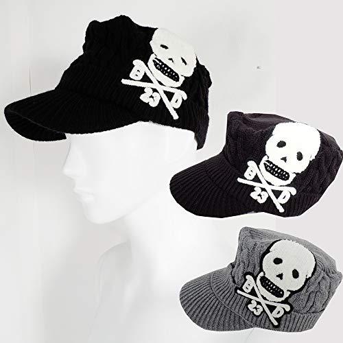 ニットスカルワークキャップ帽子キャップ 【ゴルフ】 大きいサイズ/帽子/キャップ/CAP/GOLF フリー,グレー