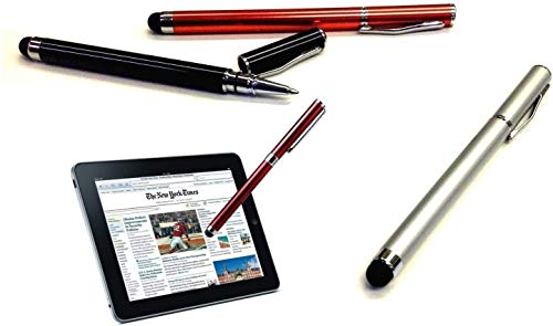 Tek Styz PRO Custom Stylus + Writing Pen with Ink for Xiaomi Redmi 3S! [3 Pack - Silver Red Black]