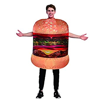 GOOSH Inflatable Cheeseburger Blow Up Costumes Men Women Hamburger Air Blow up Deluxe Halloween Funny Costume Toy