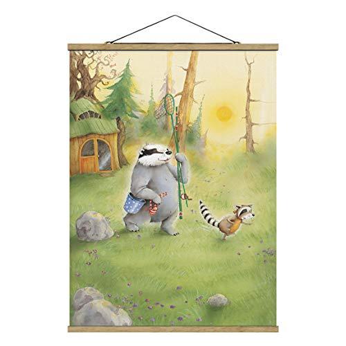 Bilderwelten Kakemono Poster - Vasily and Sibelius Go Fishing 46.5x35cm Chêne