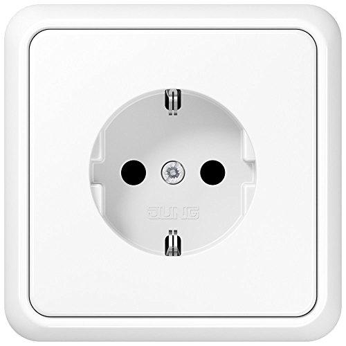 Komplett-Set Jung CD 500 Rahmen, 1-fach, bruchsicher - Alpinweiß, glänzend mit Steckdose -JUNG- -weiß-