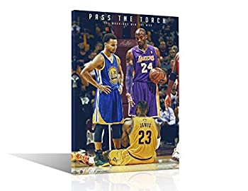 NBA Legends Kobe Bryant Lebron James & Stephen Curry Poster Wall Art Decor Framed Print 1 Pcs All Basketball Star Fan Gift for Guys & Girls Bedroom Decoration Ready to Hang