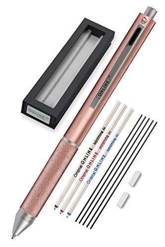 Online Multipen 4-in-1 Rosegold | Kugelschreiber & Bleistift Multifunktionsstift Metall | 3x Kugelschreiber-Mine in blau,schwarz und rot, 1x Druckbleistift-Mine | inkl. Radiergummi, in Geschenkbox