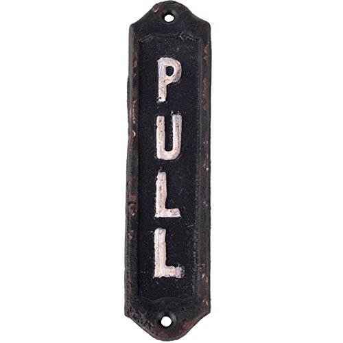 NIKKY HOME Retro Cast Iron Vertical Pull Door Sign for Shop Home Decor 6