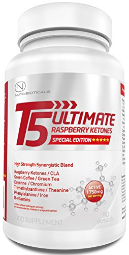 STRONGEST Fat Burner + Pre-Workout on Amazon | T5 Ultimate® Raspberry Ketones Edition | 1750mg ACTIVE per serving | Premium Thermogenic | Appetite Suppressant | Slimming Pills Ultra Potent | GMP Manufactured | 90 Capsules