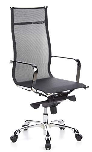 hjh OFFICE 660930 Profi Chefsessel EMILIA Netz Schwarz/Chrom Design Bürostuhl, hohe Rückenlehne, ergonomisch