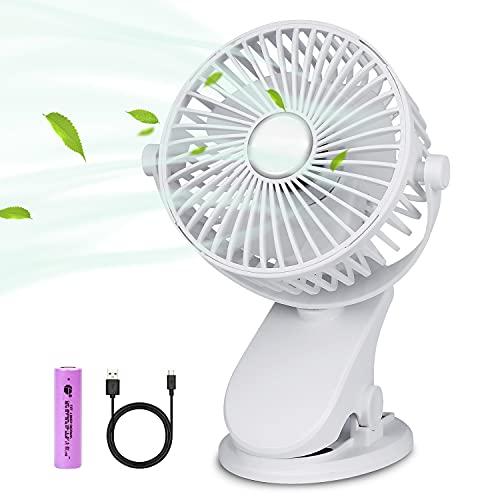 BRIGENIUS Battery Operated Clip on Stroller Fan, Portable Mini Desk Fan Rechargeable, USB Powered Clip Fan for Baby Stroller Office Outdoor Travel, White
