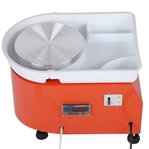 Keramikrad-Maschine,350 W 25 cm LED Orange Professionelle Elektrische Töpferscheibe DIY Keramikformwerkzeug Abwaschbares Becken mit Pedal,Reibungslos Drehbar für Schule,Töpferei oder Haushalt (EU)