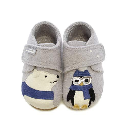 Living Kitzbühel Baby Jungen Babyklett. Eisbär & Pinguin mit Brille Hausschuhe, Grau (hellgrau 0620), 22 EU