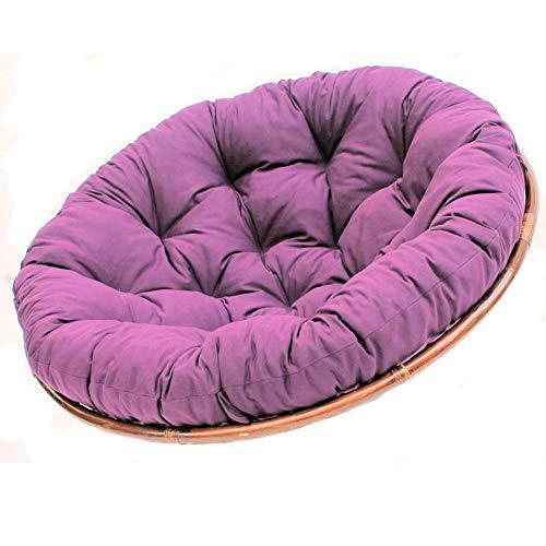 KKLTDI Rotan Papasan Kussen, D110 cm, rond, zacht opknoping Ei stoel kussen, katoenen zitkussen voor Patio Tatami
