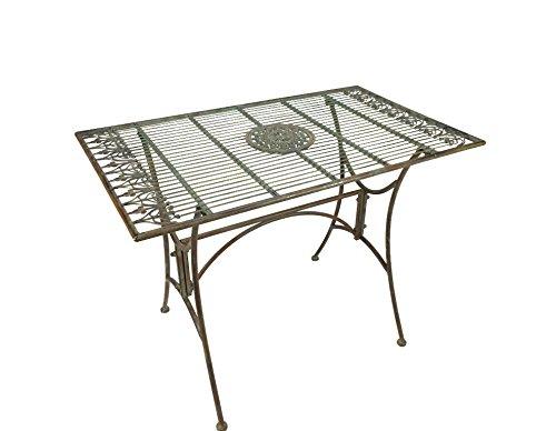 Crispe home & garden Gartentisch Almeria aus Metall im Landhaus-Stil, Antikgrün für Haus und Garten, 100 x 60 cm