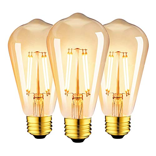 Camorf E27 - Lampadine a LED dimmerabili, stile vintage, con filamento CRI 90+, senza sfarfallio ST64, 4 W, bianco caldo 2700 K, confezione da 3