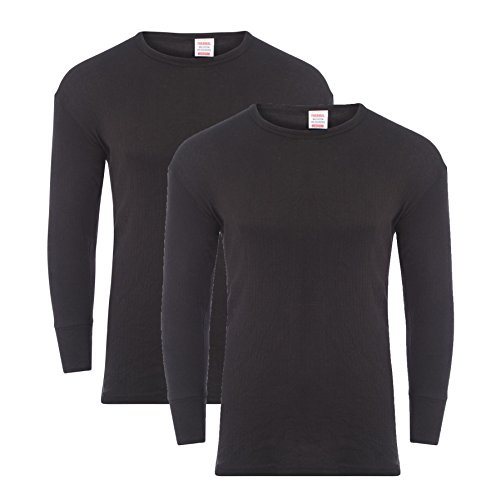 Heatwave Pack of 2 Men's Thermal Long Sleeve Top, Warm Underwear Baselayer Thermals, X Large Black