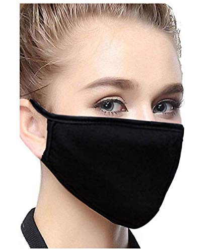 Soft Foot Black Adult Cotton Face Mask - Two Layer Soft T-Shirt Material - Washable - Made from US Materials(1 Pack)