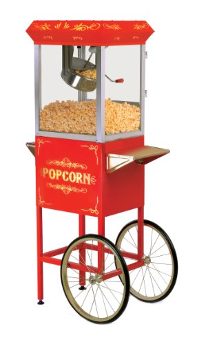 Elite Deluxe EPM-200 Maxi-Matic 8 Ounce Popcorn Popper Machine with Trolley, Red