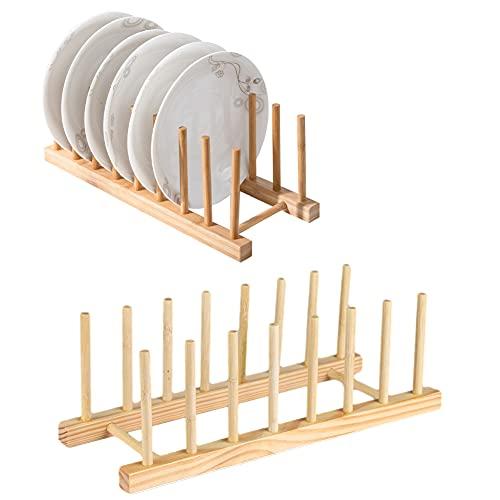 Vegena 2 Pack Escurreplatos Madera de Bam, Bambú Escurridor Platos Soporte Platos, Escurridor De Platos De Bambú, Estante Secado Bandeja Bambú para Bandejero y Porta Platos Decorativo