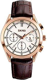 SKMEI 9127 Quartz Round Dial Chronograph Round Dial Wristwatch Leather Strap Watch - White
