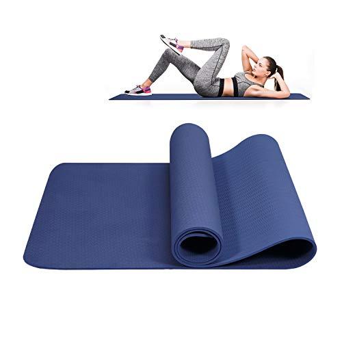 Yogamatte rutschfest Schadstofffrei TPE, Gymnastikmatte Fitnessmatte Übungsmatte mit Tragegurt, Profi Matte für Yoga & Pilates(Blau)