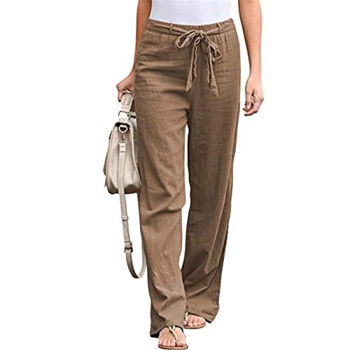 MUYOGRT Pantalones de verano para mujer, de lino, largos, sueltos, ligeros, de tela, para el tiempo libre, harén, cintura alta, pantalones de yoga, con bolsillos y cinturón, caqui, M