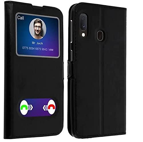 KAEESI® Schutzhülle für Samsung Galaxy A02S, Silikon, mit Sichtfenster, Schwarz