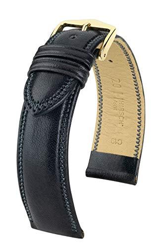 HIRSCH Unisex Uhrenarmband Kalbsleder Modell Ascot Größe Uhr 19 mm/Schließe 18 mm, Farbe Schwarz