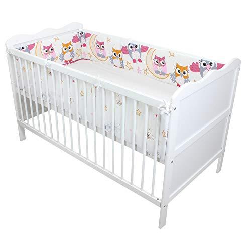 TupTam Babybett Bettumrandung Lang Gemustert, Farbe: Eulen 2 Rosa, Größe: 420x30cm (für Babybett 140x70)