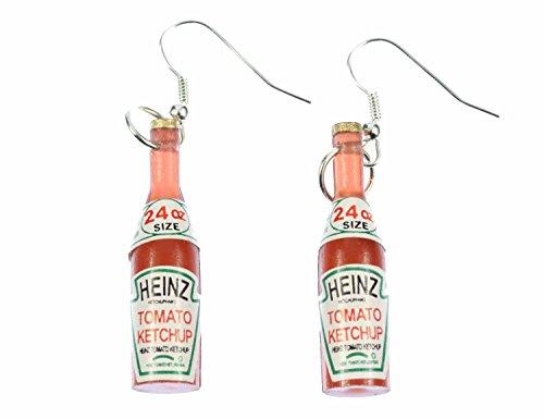Miniblings Ketchup Fast Food Ohrringe - Handmade Modeschmuck I Flasche Soße rot - Ohrhänger Ohrschmuck versilbert