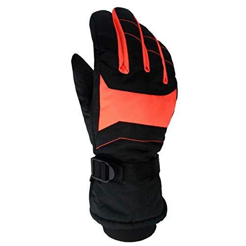 Guanti da moto da sci per sport all'aria aperta da uomo e donna da snowboard invernali caldi e traspiranti di alta qualità - Arancione Nero, M.