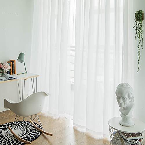 FF&XX Weiß Schiere Fenster Gardinen Schals Panels,Voile Vorhänge,Balkon Vorhänge,Wohnzimmer Deko Zimmerteiler Gardinen Schals Weiß W:200xh:270cm