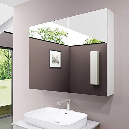 S'AFIELINA Spiegelschrank, 85x65cm Doppeltür Bad Spiegelschrank Badschrank mit Doppelseitiger Spiegel Mit zweilagigem Edelstahlregal Spiegelschrank(Weiß)