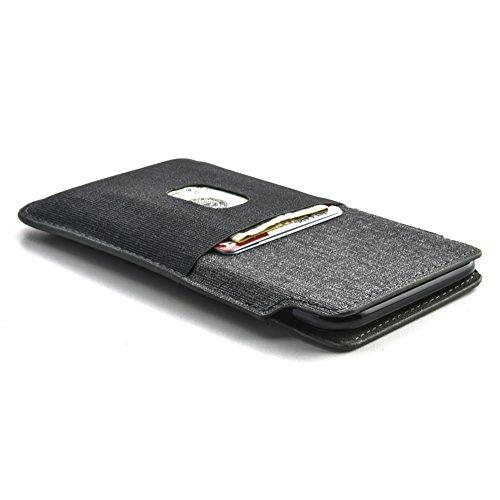 Dockem Luxe Estuche Cartera para iPhone 11 Pro, XS y X: Funda Tarjetero de Piel Sintética con Diseño de Tela de Sarga: Funda Slim Profesional Ejecutiva con 2 Ranuras para Tarjetas [Negro/Gris]