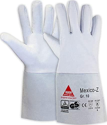 strongAnt Guantes para soldar MEXICO-Z fabricados en napa de cabra, TÜV GS, pulgar pulgar y puño de serraje vacuno - talla: 7