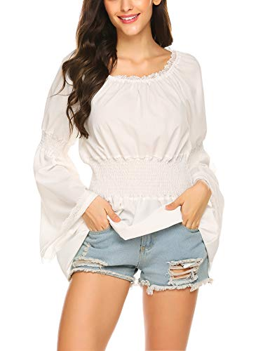 ELESOL Women Classical Plus Size Loose Fit Pirate Blouse Tops O-Neck Peasant Shirt White/XXL