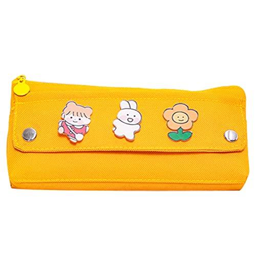 XIAOLI Estuche de lápices simple con diseño de pupilo, bolsa de papelería de gran capacidad, estuche de lona, estuche de papelería, bolsa de cosméticos (color: amarillo)
