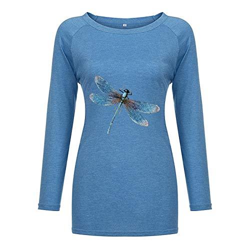 Camiseta de Manga Larga con Dobladillo Irregular y Cuello Redondo Suelto con Estampado de liblula Azul para Mujer de otoo L