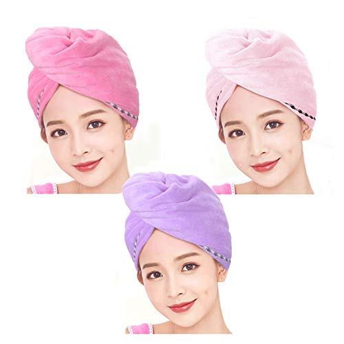Stel je voor oranje 3 Pack Microvezel Haar Drogen Handdoek Wrap Twist Turban Absorbens Snel Droog Haar Caps met Knop Salon Droog Haar Hoed voor Vrouwen Meisjes
