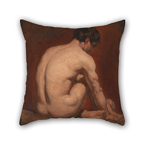 Slimmingpiggy Oil Painting William Etty - Male Nude, Kneeling, From The Back Pillow Cases 16 X 16 Inches / 40 By 40 Cm Best Choice For Festival,lover,chair,office,drawing Room,couch With Two Sides
