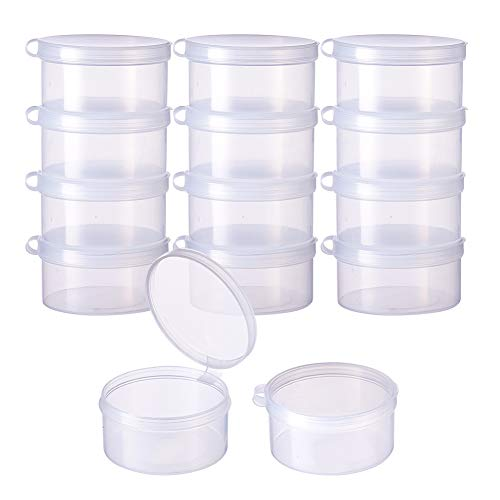 BENECREAT 12 Pack Round Clear Plastic Bead Storage Containers Box Case with Flip-Up Lids for Items,Pills,Herbs,Tiny Bead,Jewerlry Findings, and Other Small Items - 2x1 Inches