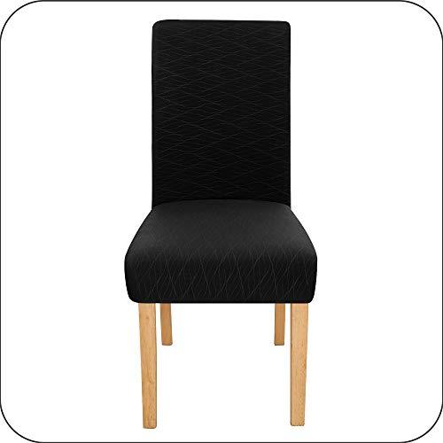 Amazon Brand - Umi Fundas de Silla Decorativas Suave de Salon Comedor 4 Piezas Negro