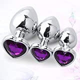 Fantasía púrpura de 3 piezas de metal plateado en forma de corazón masajeador femenino juego de dormitorio juguete de pareja