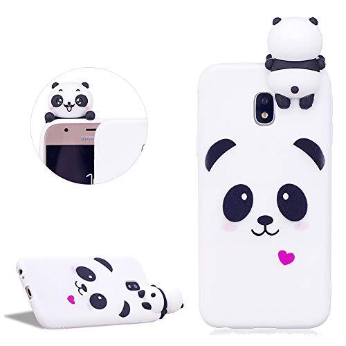 DasKAn Moda Custodia per Samsung Galaxy J330/J3 2017,Carino Bianca Panda 3D Cartoon Animale Bambola Disegno Indietro Cover AntiGraffio Flessibile Morbido TPU Silicone Custodia per Galaxy J330/J3 2017